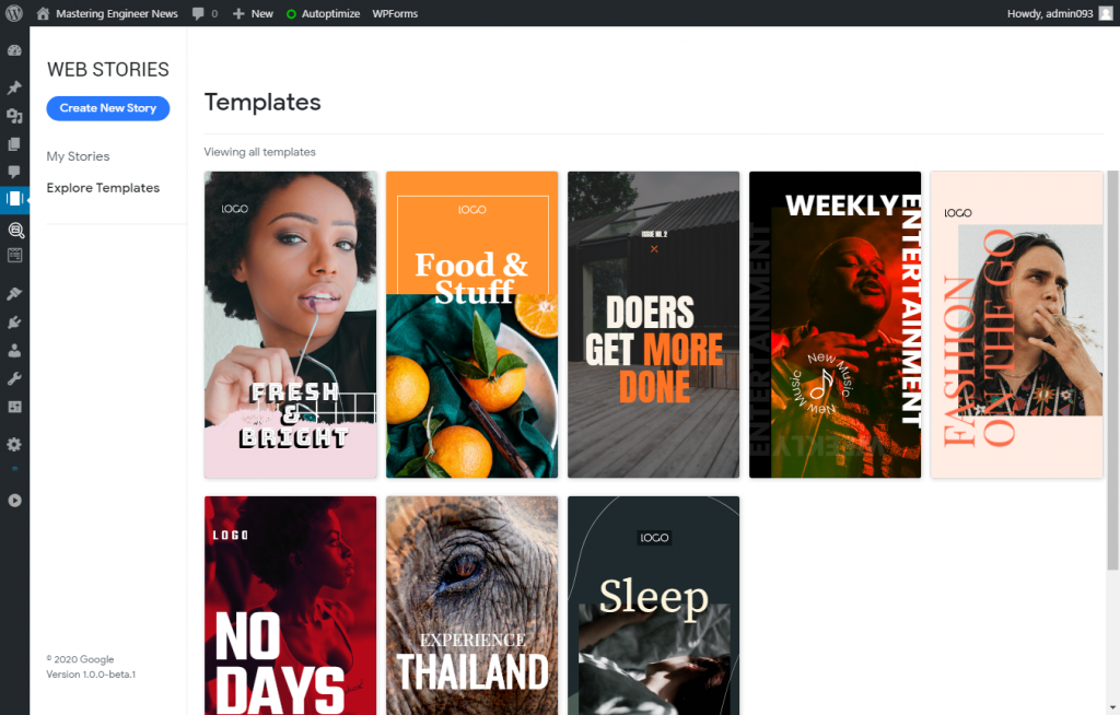 Try any one of the beautiful templates supplied by Google with their new plugin